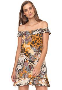 Vestido Fiveblu Curto Estampado Caramelo/Marrom