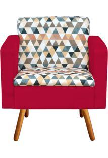 Poltrona Decorativa Emília Estampado Triangulo D87 Com Suede Vermelho - D'Rossi