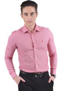 Camisa Social Vermelha Estampada Horus Slim 100207