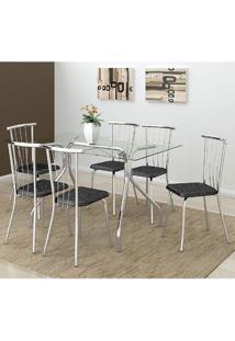 Mesa 387 Com Vidro Incolor Cromada Com 6 Cadeiras 154 Fantasia Preto Carraro