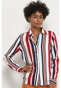Camisa Lady Listrada Manga Longa Feminina - Feminino-Branco+Vinho