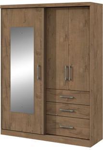 Guarda-Roupa Ciranda - 3 Portas - Carvalho Soft - Com Espelho
