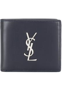 Saint Laurent Carteira Monogramada 'East/West' - Azul