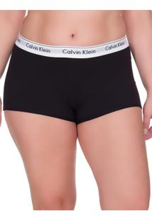 Calcinha Boyshort Moder Cotton Plus Size - Preto - 1Xl