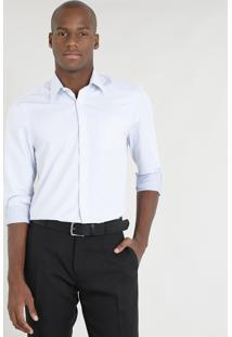 Camisa Masculina Comfort Estampada Manga Longa Branca