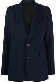 Ami Paris Blazer Com Abotoamento Simples E Lapelas - Azul