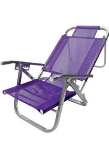 Cadeira De Praia Reclinável Botafogo Copacabana Cad0398 Roxa