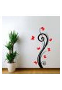 Adesivo De Parede Floral 32 (Floral Com Borboletas) - G 120X60Cm