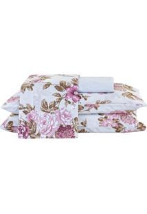 Jogo De Cama Arzene Queen Floral Rosê Com Elástico Com 4 Peças - Enxovais Ibitinga