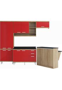 Cozinha Compacta Multimóveis Sicília 5846.132.694.610 Argila Vermelho Se