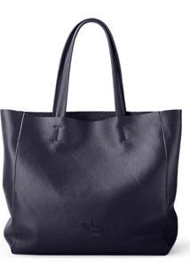 Bolsa Line Store Leather Sacola Shopper N2 Couro Azul Marinho - Kanui