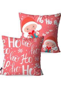 Kit Com 2 Capas Para Almofadas Pump Up Decorativas Risada Do Papai Noel - Ho Ho Ho 45X45Cm - Rosa - Dafiti