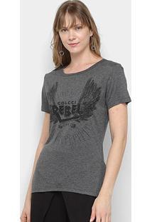 Camiseta Colcci Silk Rebel Feminina - Feminino-Mescla
