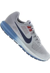Tênis Nike Zoom Structure 21 - Masculino - Cinza Cla/Azul Esc