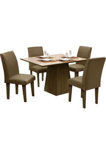 Mesa Para Sala De Jantar Com 4 Cadeiras Florença – Dôbue - Castanho / Bege / Mascavo