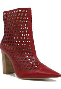 Bota Zariff Shoes Ankle Boot Vazado Feminina - Feminino-Vermelho