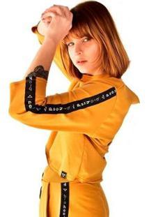 Blusa Cropped Moletom Manga Longa Brohood Feminina - Feminino-Amarelo