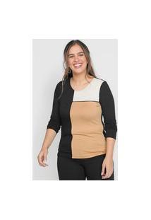 Blusa Cativa Color Block Preta/Bege