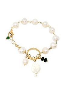 Pulseira Soloyou Pérolas Água Doce Fashion Semijoia Ouro 18K Com Zircônia Branca E Pedra Natural Jade