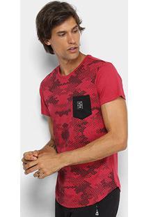 Camiseta Rg 518 Alongada Estampa Camuflada Masculina - Masculino-Vermelho