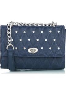Bolsa Pequena Matelassê E Tachas Azul