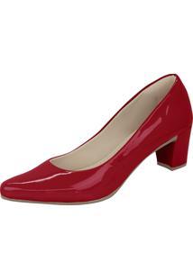 Scarpin Domidona Salto Grosso Bico Fino Vermelho - Vermelho - Feminino - Dafiti