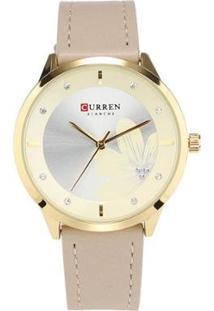 Relógio Curren Analógico C9048L Feminino - Feminino-Dourado+Bege