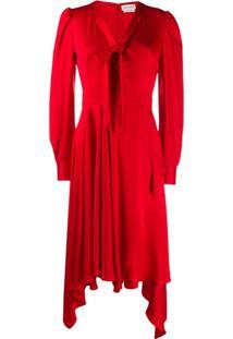 Alexander Mcqueen Draped Asymmetric Dress - Vermelho