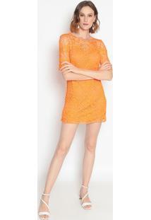Vestido Em Crochê- Laranja- Le Fixle Fix
