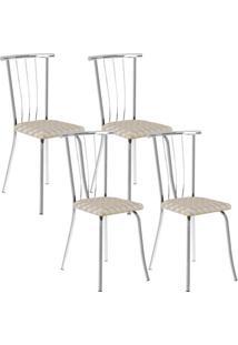 Cadeira 154 Cromada 04 Unidades Retrô Metalizado Carraro