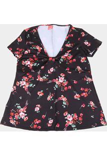 Blusa Wee! Plus Size Gola V Floral Feminina - Feminino-Preto