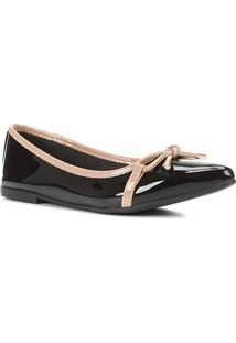Sapatilha Shoestock Laço Bico Fino Verniz Feminina - Feminino-Preto+Bege