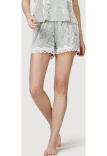 Shorts Pijama Feminino Em Veludo Com Renda