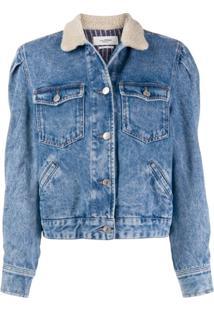 Isabel Marant Étoile Shearling Collar Denim Jacket - Azul