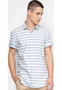 Camisa Calvin Klein Listrada Masculina - Masculino-Azul Claro