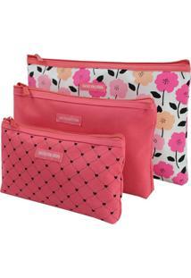 Kit De Necessaire De 3 Peças Jacki Design Pink Lover Coral - Kanui