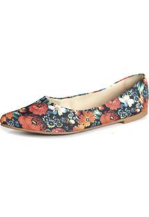 Sapatilha Promocional Scarpan Calçados Finos Florido Vermelho
