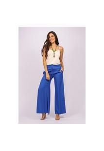 Calça Pantalona Viscose Amazonia Vital Com Fenda Azul Bic