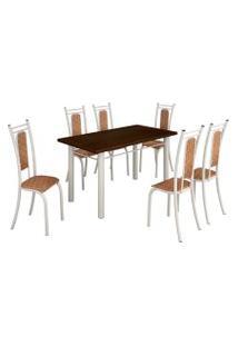 Mesa De Jantar Paris 6 Cadeiras Mosaico Branca E Tampo Amêndoa