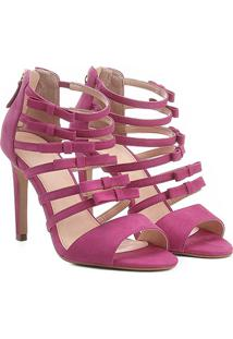 Sandália Couro Shoestock Salto Alto Laços Feminina - Feminino-Pink