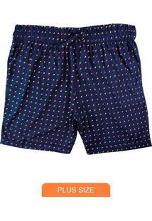 Shorts Azul Marinho Poá Em Tecido Plano