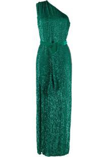 Retrofete Vestido Ombro Único Com Aplicação - Verde
