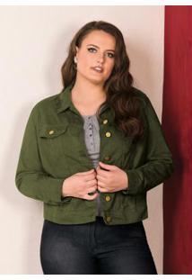 Jaqueta Color Em Sarja Verde Militar Lisamour