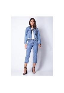 Calça Reta Com Aplicação Lança Perfume Jeans Azul