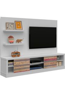 "Estante Home Para Tv Até 47"" Boss Branco / Branco Com Antique"