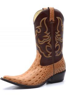 Bota Country Bico Fino Top Franca Shoes Jacare Nozes / Cafe