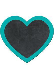Quadro Decorativo Lousa De Giz Coração- Preto & Verde Ágcia Laser