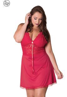 Camisola Diário Íntimo Plus Size Com Detalhes Em Renda Vermelha