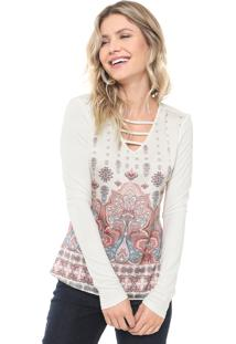 Blusa Cativa Floral Off-White