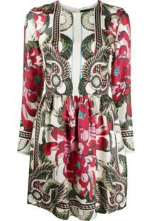 John Richmond Floral Snake-Print Long Sleeved Mini Dress - Branco